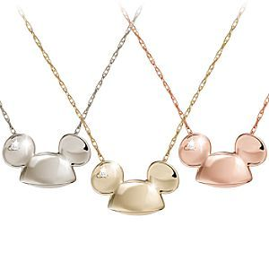 Disney Diamond and Gold Ear Hat Mickey Mouse Necklace -- 14 Karat |