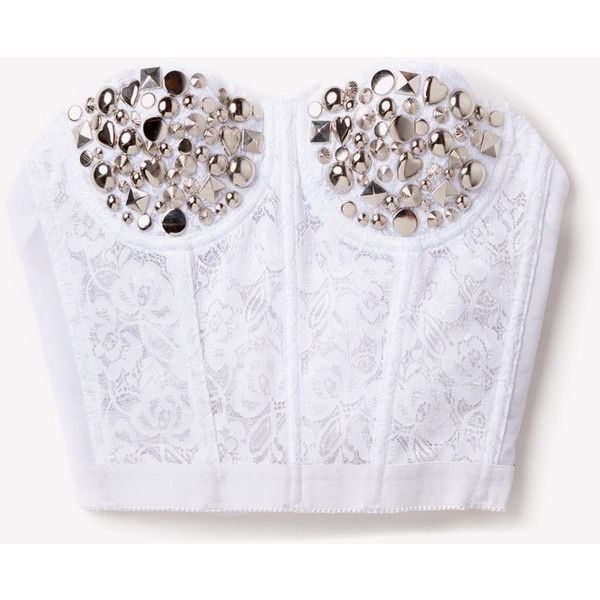 Silver Studded Lace Bustier White ❤ liked on Polyvore featuring tops, shirts, bralets, crop tops, bustier, white lace shirt, lace top, lace crop top, white crop tops and silver crop top