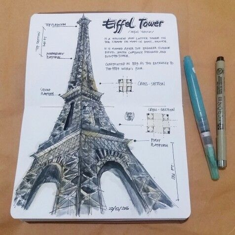 Eiffel tower - WATERCOLOR ON CANSON SKETCHBOOK BY LUTHFIAHRA