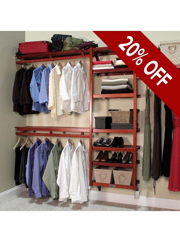 Available In Honey Maple Or Red Mahogany Crafted Of 100 Solid Wood And Designed For The Closet Shelving System Closet Organizing Systems Wood Closet Systems