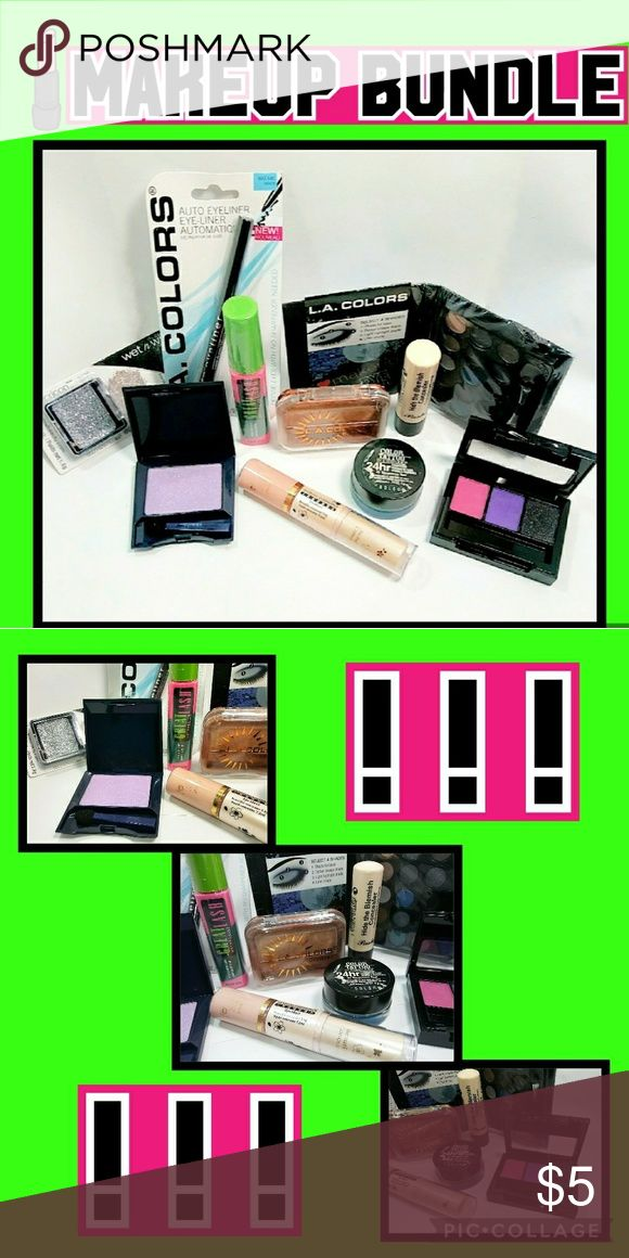 """Makeup Bundle ×10 #1NYX""""Love Rio""""shadow-pink, purple,&gray-no brush-used once #2LAColors black liner-new in pkg #3LAColors Bronzer-used once-no brush #4LAColors""""Daring Smoky""""pckt shadow palette-new in pkg-15 shades #5Maybelline Great Lash Mascara Limited Edition""""Green w/Envy""""new in sealed pkg #6Maybelline ColorTattoo24hr shadow """"Tenacious Teal"""" #7 2in1solid&liquid light concealer-used once #8 """"Hide the Blemish""""concealer byTiannuo-used once #9Avon Color Dazzlers glitter shadow-""""Lilac""""used…"""