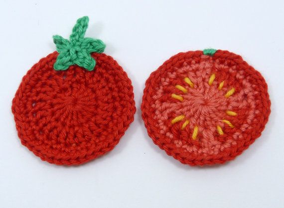 Crochet applique 2 crochet tomatoes. Cards by MyfanwysAppliques