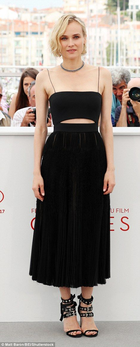 Stunning:Diane Krugerlooked as chic as ever as she attended the photocall of her new film In The Fade in Cannes on Friday