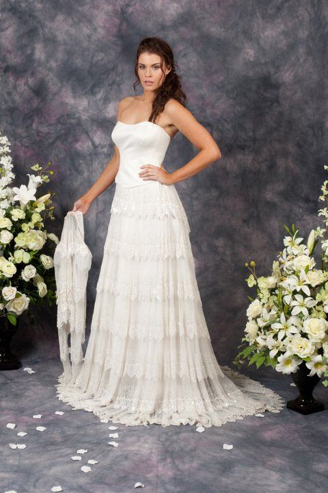 White strapless lace tier dress http://www.arcarocouture.com.au