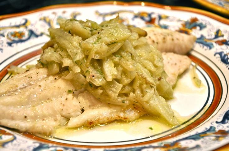 Filetti di pesce al finocchio (Fish Fillets with Braised Fennel)