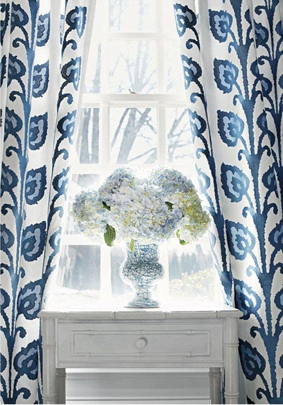 Blue Thibaut Curtains Temecula Curtains Embroidered Drapes Curtain