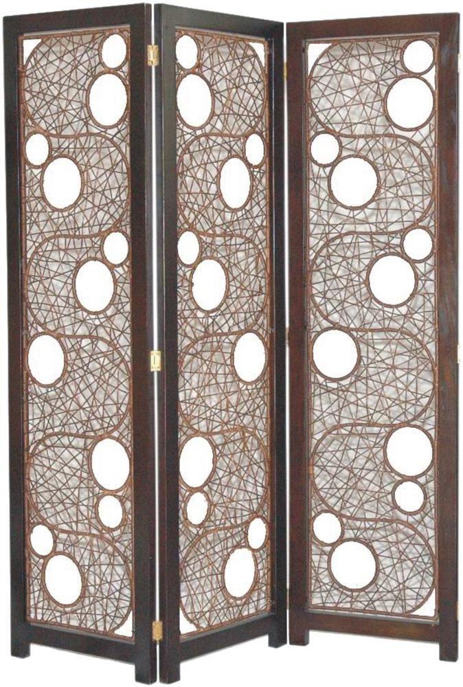 cascade woven rattan 3 panel folding screen id room divider