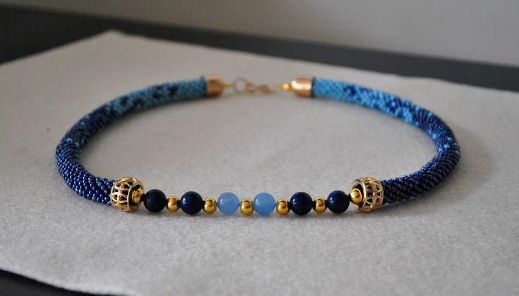 beaded necklace sznur szydełkowo-koralikowy