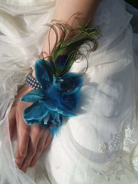 Orchid Flower Peacock feather Wedding Prom Wrist Corsage Teal Blue