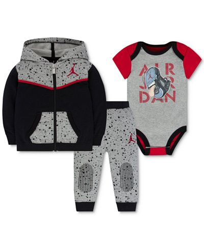 Jordan Baby Boys' 3-Pc. Speckle Hoodie, Bodysuit & Pants Set