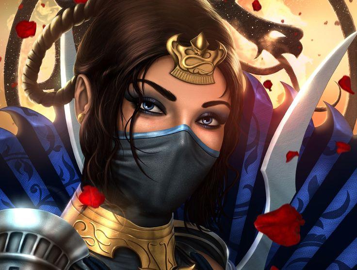 Video Game Mortal Kombat Kitana (Mortal Kombat) Face Blue Eyes Brown Hair Woman Warrior Wallpaper