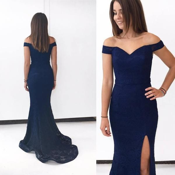 Navy Blue Lace Prom Dresses Long Mermaid Evening Dresses Off Shoulder Formal Gowns Sexy Party Dresses with High Slit