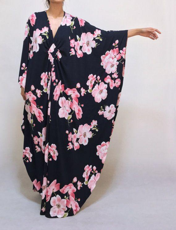Navy Blue Plus Size Maxi Kaftan Dresses Autumn Winter Pink