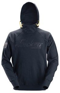 Logo hoodie in navy. The raised collar of this high quality hoodie offers cozy warmth when the wind blows cold. Further protection is offered by the drawstrings in the hood for easy adjustments. It has an 3D- printed Snickers Workwear logo on the front for contemporary look and good areas available for profiling.