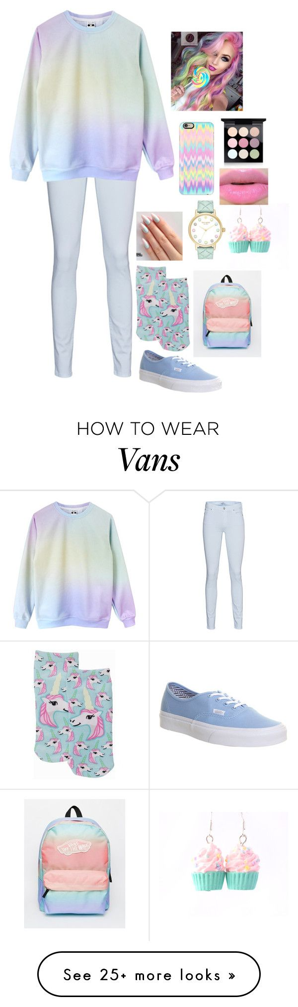 """Pastel"" by a-angel on Polyvore featuring 7 For All Mankind, Living Royal, Vans, Kate Spade, Casetify and MAC Cosmetics"