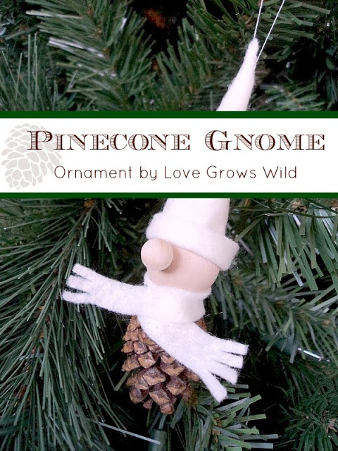 Pinecone Gnome Ornament by Love Grows Wild #christmas #ornament #pinecone