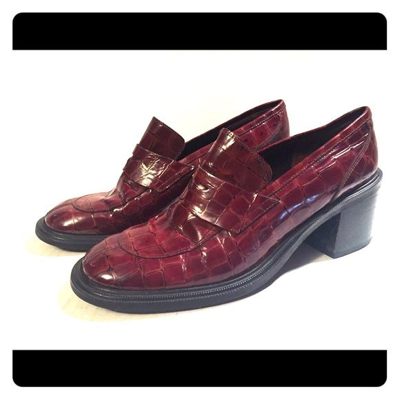 Banana Republic Shoes - Banana Republic croc brown leather penny loafers 8