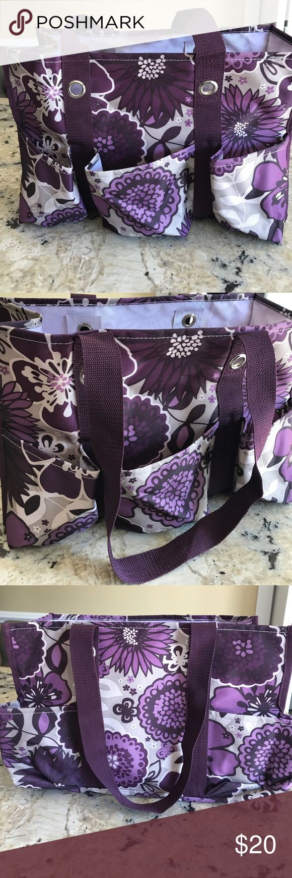 Thirty One Medium Tote Thirty One Purple Floral Medium Tote with 7 Outer Compartments. Double Strap. Never Used. Only Displayed. Thirty-one Bags Totes