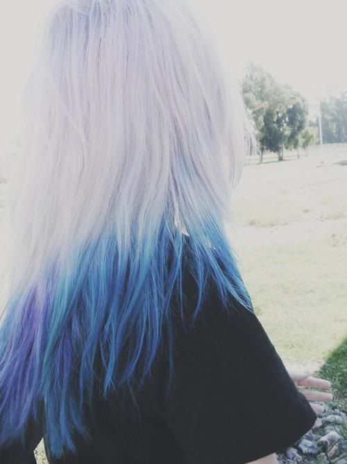 pale blonde and blue dip dyed hair