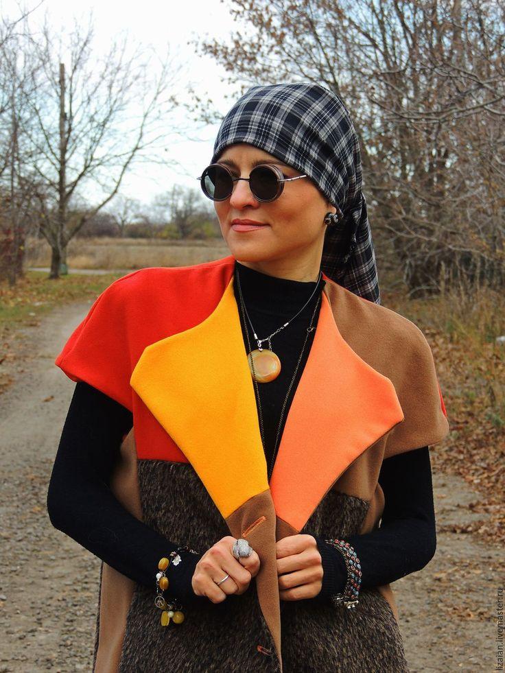 Купить Жилет удлиненный из пальтовой ткани - жилет зимний, жилет из шерсти, кардиган женский