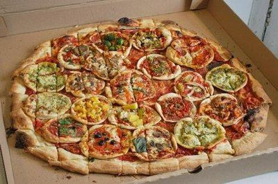 it's a PIZZA TOPPED WITH OTHER PIZZAS oh my GOD what a time to be alive!