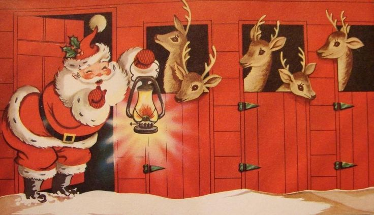 vintage Christmas card, Santa & his reindeer - pumpernickel pixie