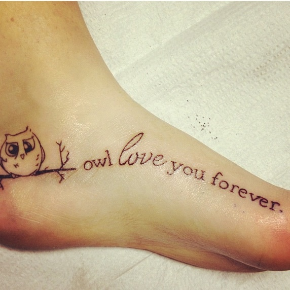 Other owl tattoo with these words Nd her name