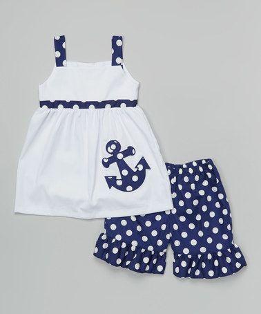 White & Navy Dot Anchor Dress & Shorts - Toddler