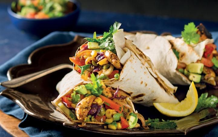 Mexican spiced wraps with stir-fried veg and Cajun chicken