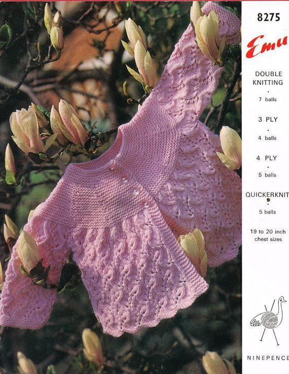 baby matinee coat vintage knitting pattern PDF