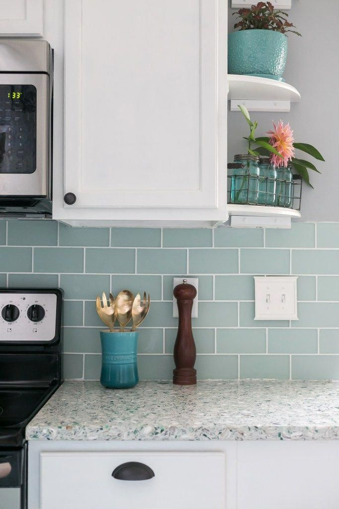 Frosted Sea Glass Subway Tile White Cabinets And Recycled Glass
