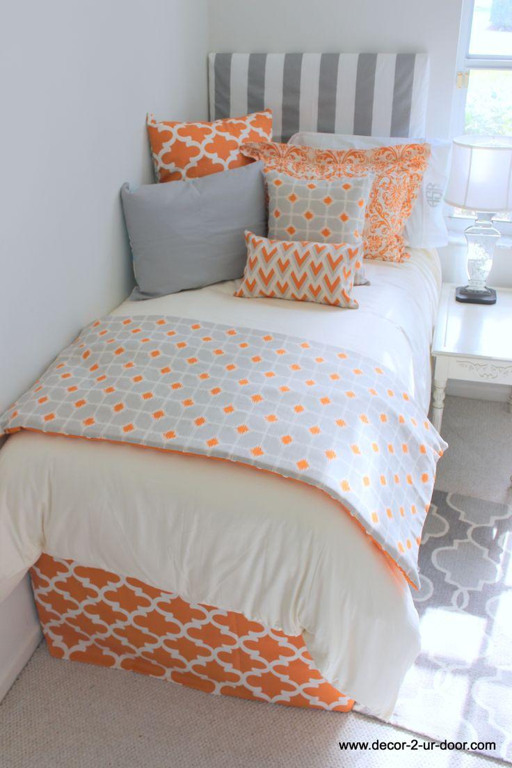 tangerine and grey designer dorm room bedding new release love the. Black Bedroom Furniture Sets. Home Design Ideas