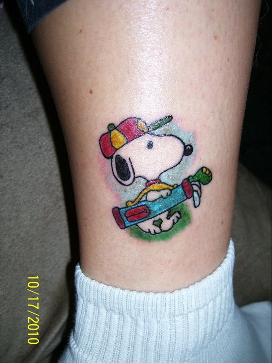 Fresh snoopy tattoo in honor of my grandfather who loved snoopy and golf...Owner:MAC