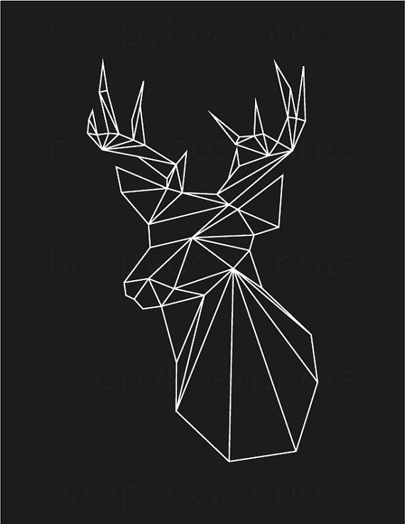 Geometric Deer Black Deer Geometric Animal by happybearprints