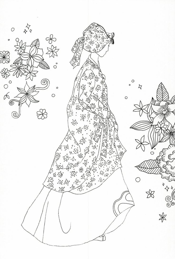R kelly coloring pages - Adult Coloring Page Korean Traditional Clothing