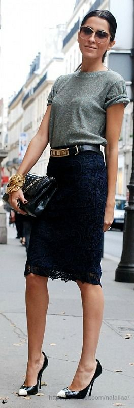 I love the juxtaposition of black lace pencil skirt with a plain ole grey tee