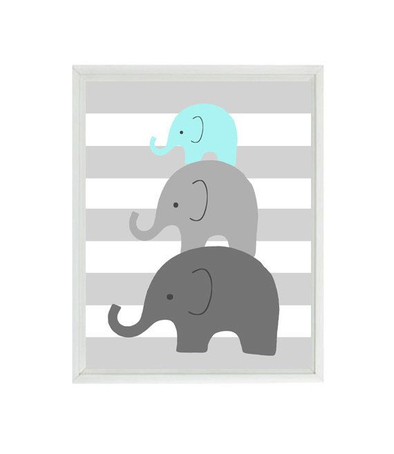 Elephant Nursery Wall Art  Mom Baby Dad Family by RizzleandRugee, $15.00