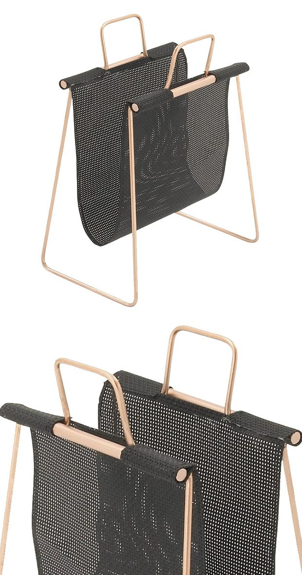 Keep your lovely magazines and newspapers at arm's reach with this handy holder. Made with a durable insert and sleek gold-finished metal frame, this Harrison Magazine Rack will handsomely contain the ...  Find the Harrison Magazine Rack, as seen in the Breaking News Collection at http://dotandbo.com/collections/breaking-news?utm_source=pinterest&utm_medium=organic&db_sku=115166