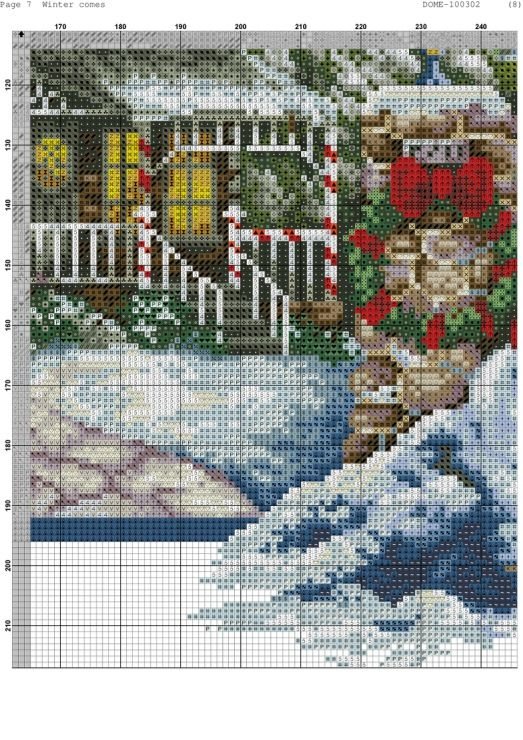 Cross-stitch Winter Comes, part 10 of 11..  color chart on parts 2 & 3