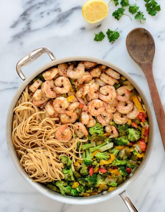 Healthy Shrimp Pasta Stir Fry