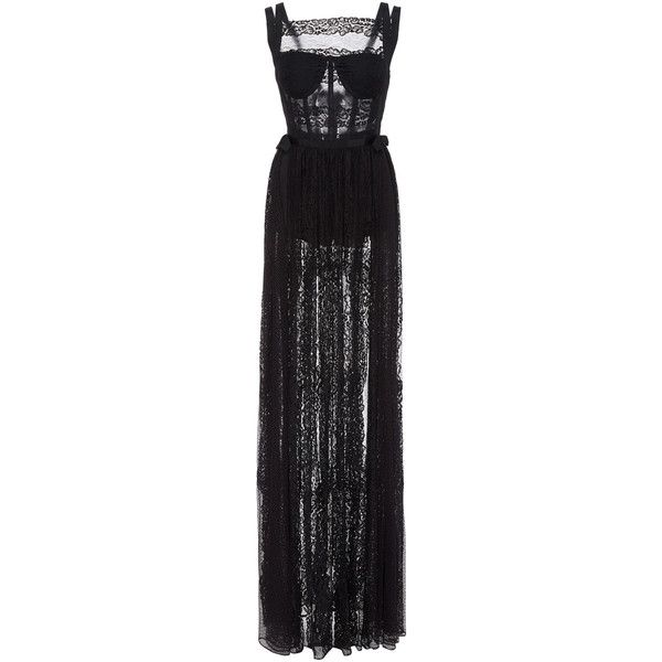 Silk-Lace Maxi Dress | Moda Operandi ($5,295) ❤ liked on Polyvore featuring dresses, fitted maxi dresses, sheer maxi dress, bustier dresses, flared skirts and skater skirts