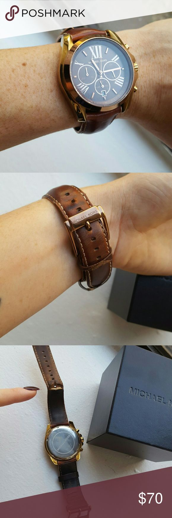 Micheal Kors watch Oversized female watch. Comes with box and instructions. Band has bend in from wearing but cannot see it when on wrist. Some scratching on face and hardware from wear. Get compliments everytime I wear this. Just dont really wear brown stuff anymore.  Battery works and has date. Never used  the other features but  u can figure out with instructions book. Definately worn but gorgeous. Eventually will need to get new wrist band. Michael Kors Accessories Watches