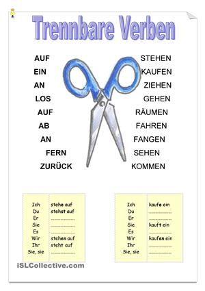 Konjugation der trennbaren Verben - DaF Arbeitsblätter