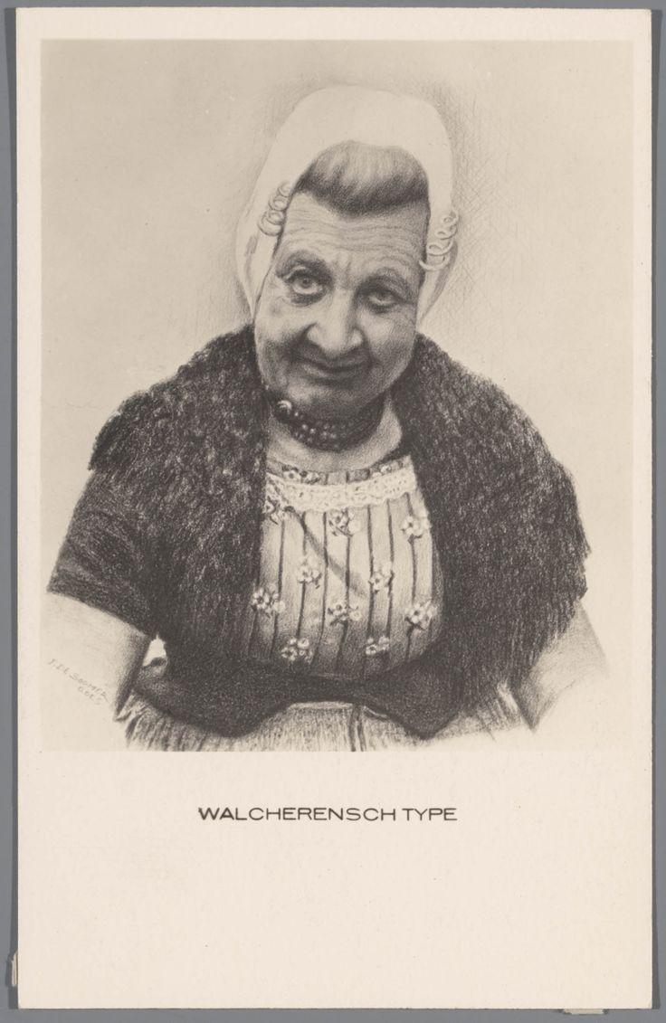 Tekening van een vrouw in Walcherse streekdracht. na 1905 #Zeeland #Walcheren