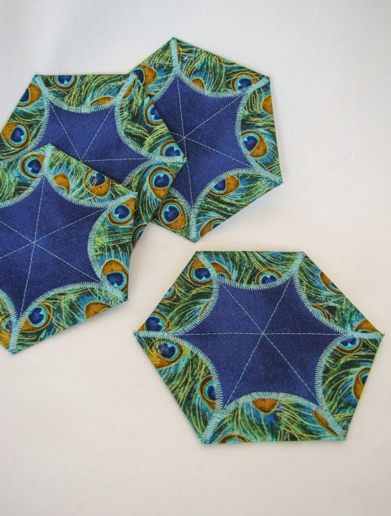 Quilted Coaster Set Star Coasters Table by QuiltyPleasuresCraft