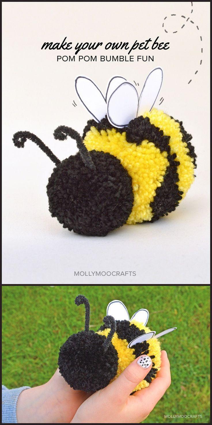 Cute pom pom bumble bee