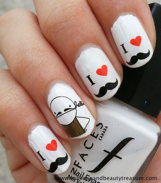 Best 25 mustache nail art ideas on pinterest mustache nails makeup and beauty treasure born pretty store mustache nail art water decals review prinsesfo Choice Image