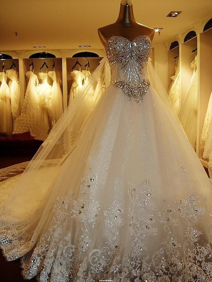 29dddad3cbd1 Wedding Dresses princess ballgown strapless sweetheart neckline crystals  silver metallic jewels jeweled beading beads glitz glam | Wedding Dresses |  Wedding ...