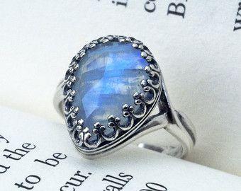 Pera Rainbow Moonstone Ring oxidados plata esterlina anillo solitario piedra lunar / junio Birthstone anillo anillo de piedras preciosas / joyería de la piedra de luna