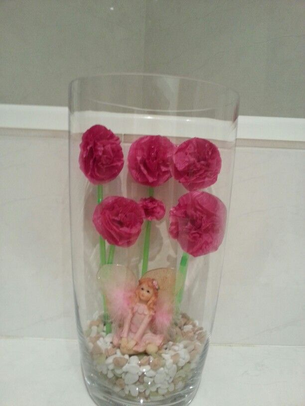 A fairy in my bathroom sits in a garden of giant flowers (theme from our 25th wedding anniversary 2012) - see Board